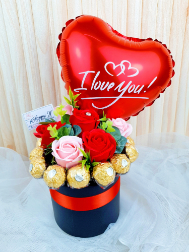 Ferrero Rocher Soap Roses With Balloon Box