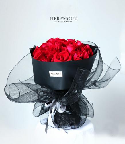 LITTLE BLACK DRESS RED ROSE ROMANCE BOUQUET