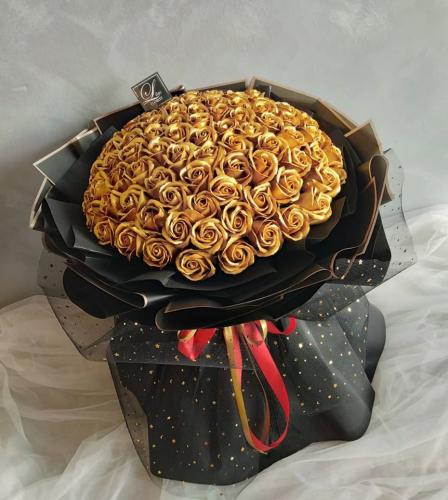 99 Golden Soap Rose Bouquet