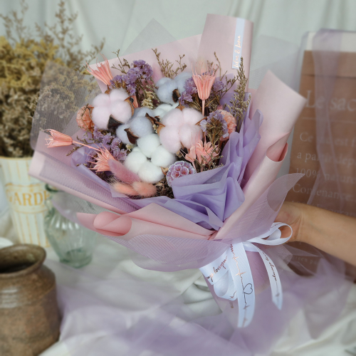 Mixed Pink & Purple Colored Cotton Flower Bouquet