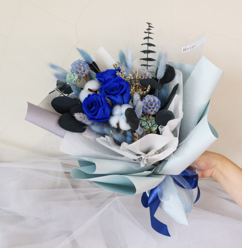 Blue Eternal Roses Bouquet