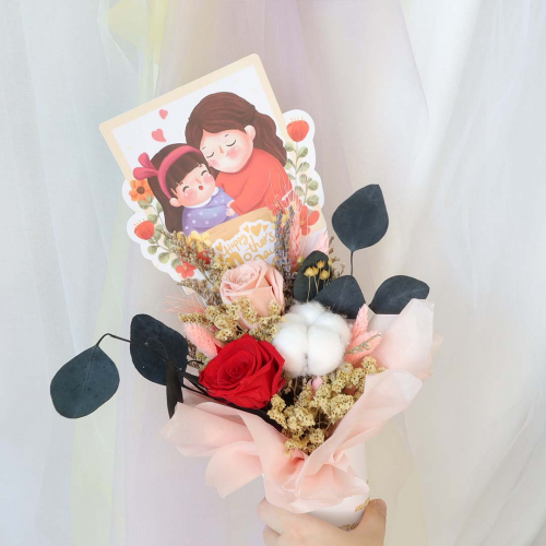 【Mother's Day Special Promo】Preserved Rose Ice Cream Cone Bouquet