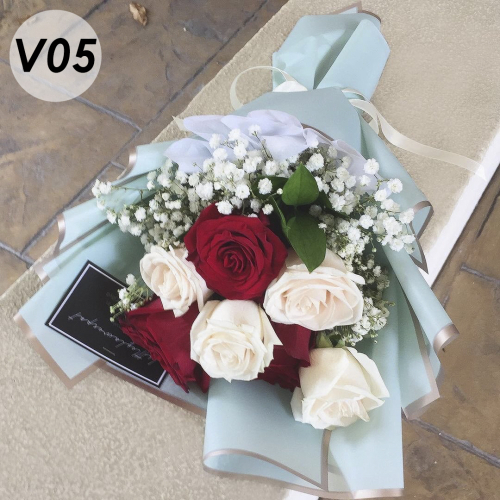 V05 - Red and cream rose