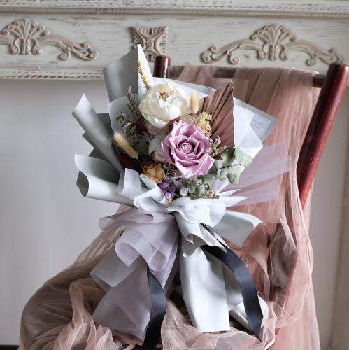 Mauve Purple Preserved Flower Bouquet