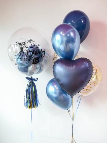 Chrome Blue Bubble Balloon Sets