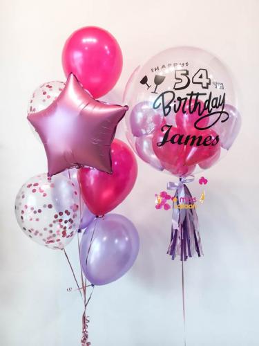 Hot Pink & Purple Bubble Balloon Sets