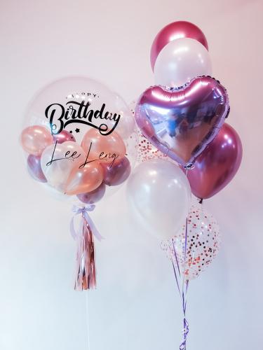 Chrome Mauve & Rose Gold Bubble Balloon Sets