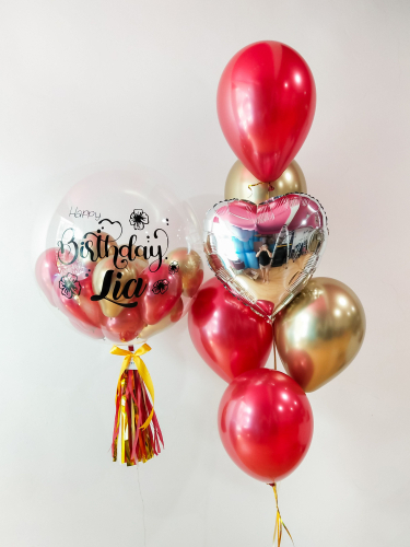 Reflex Crystal Red & Gold Bubble Balloon Sets