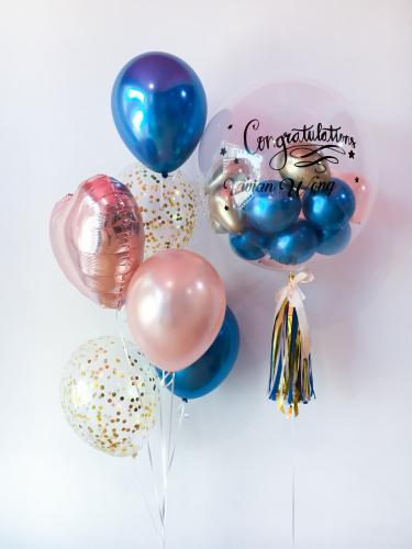Chrome Blue & Rose Gold Bubble Balloon Sets