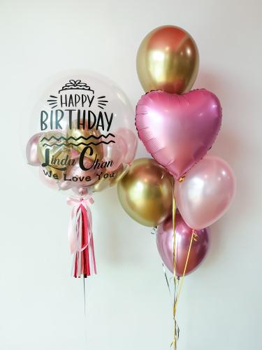 Chrome Gold & Mauve Bubble Balloon Sets