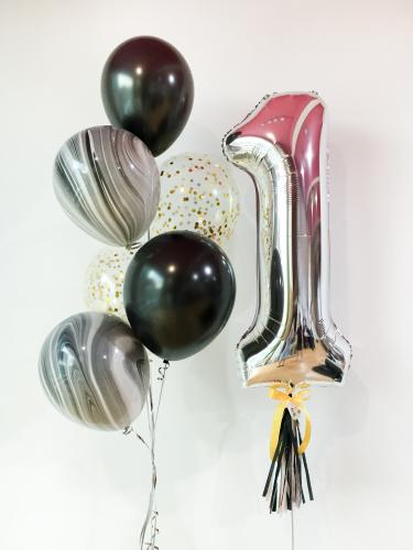 Jumbo Numeric Helium Bunch Set | Black Silver