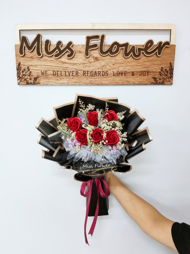 Red Soap Roses Bouquet