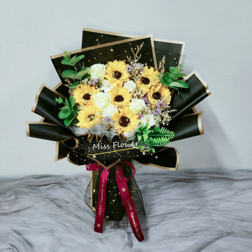 Soap sunflowers with roses bouquet 02
