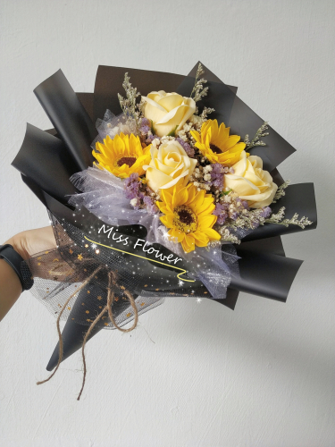 Soap sunflowers with roses bouquet 03