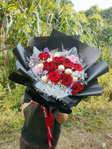 Fresh Roses with Ferrero Rocher bouquet