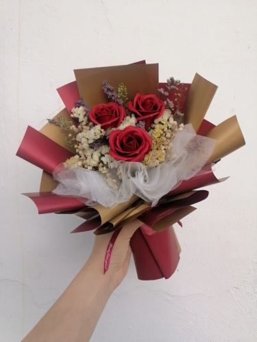 Soap Rose Bouquet (Red Gold Series)