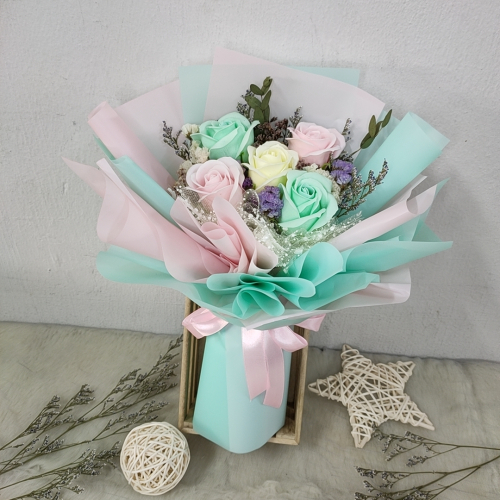 Soap Rose Bouquet (Green Pink Series)