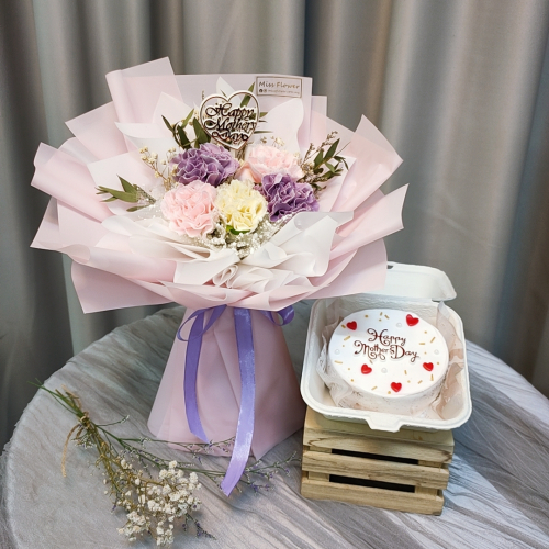 Mother's Day Package/ Flower+Cake (SET B Purple)
