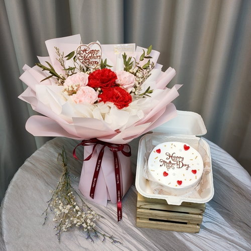 Mother's Day Package/ Flower+Cake (SET B Red)