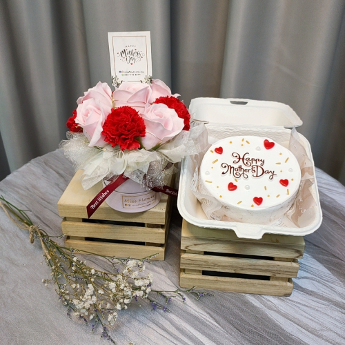 Mother's Day Package/ Flower+Cake (SET D Red)