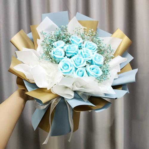 Soap Blue Roses Bouquet 01