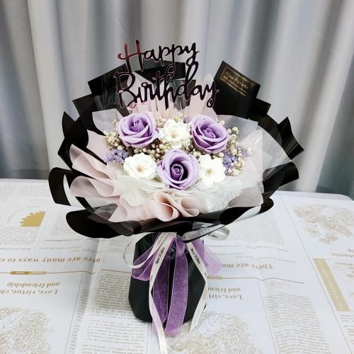 Purple Soap Rose Bouquet 02