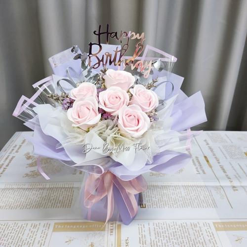 Pink Soap Roses Bouquet 03