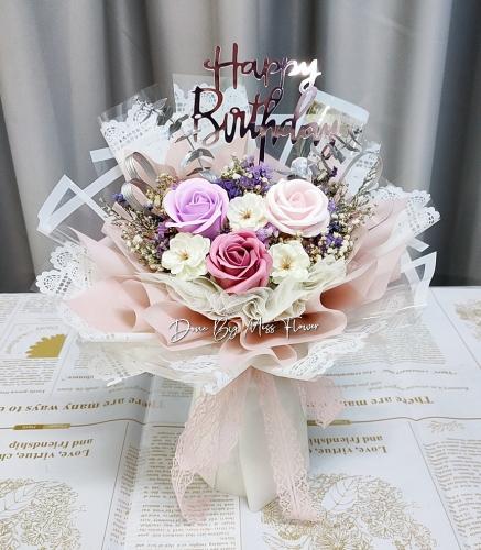 Mix Colour Soap Roses Bouquet 04