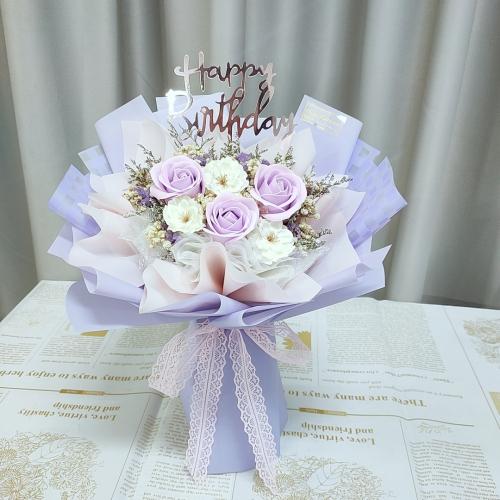Purple Soap Rose Bouquet 03