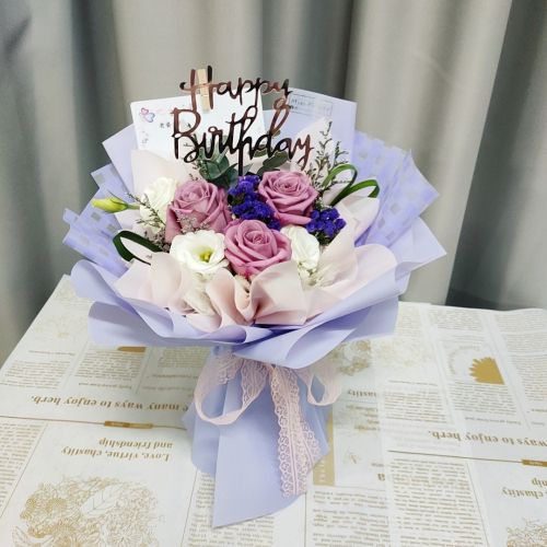 Purple Roses Bouquet 01