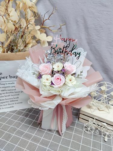 Pink Soap Roses Bouquet 06