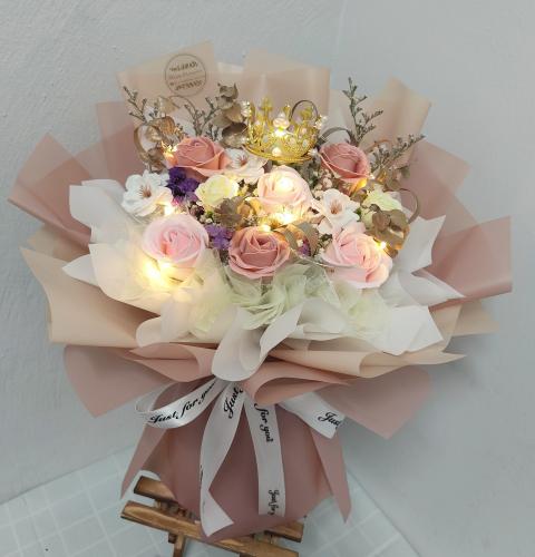 Pink Soap Roses Bouquet 07