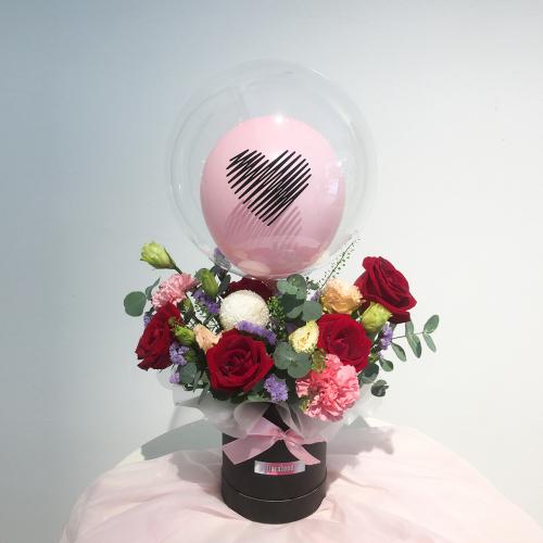 Flower Balloon Box | Red Romance in Box