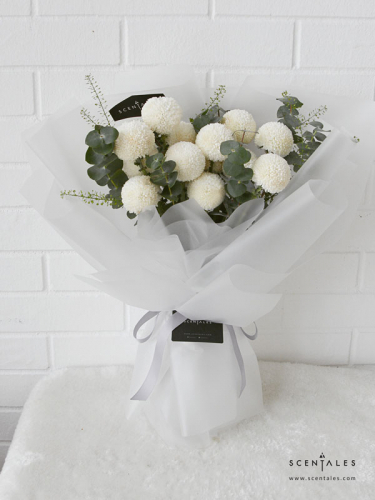 Minimalist White Ping Pong Flower Bouquet