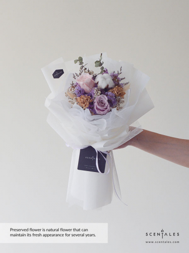 White Dress Preserved & Dried Flower Bouquet