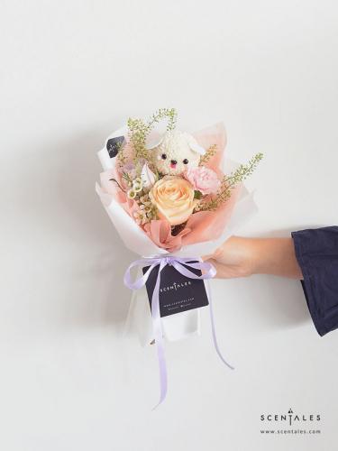 Sparky The Maltese Petite Flower Bouquet