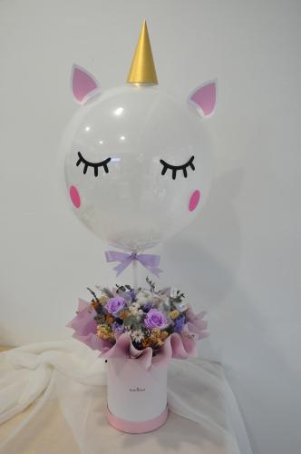 Unicorn balloon Purple theme preserved box