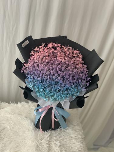 Baby Breath bouquet - Pink purple blue