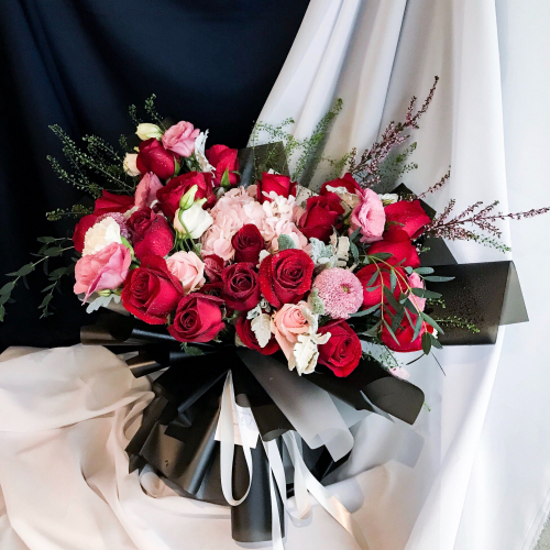 Braelynn- 25 red roses, pink roses, hydrangea, eustoma silver leaves, ping pong