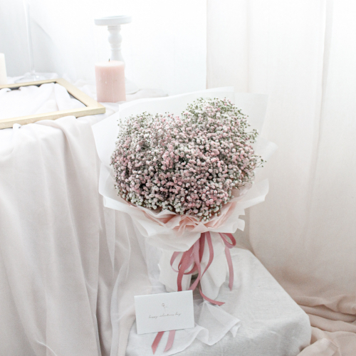 SDTFM12 - HEART Baby Breath Bouquet