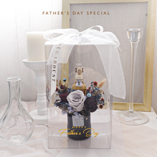 Father's Day Special - Preserved Flower Box with Chivas Regal 12 Miniature