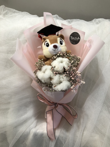 graduation bouquet cotton flower with baby breath