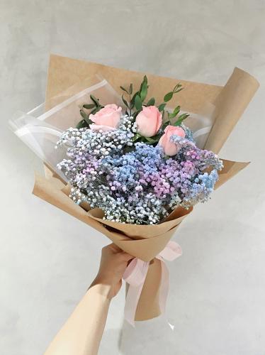 Purple Blue Baby Breath & Rose Bouquet