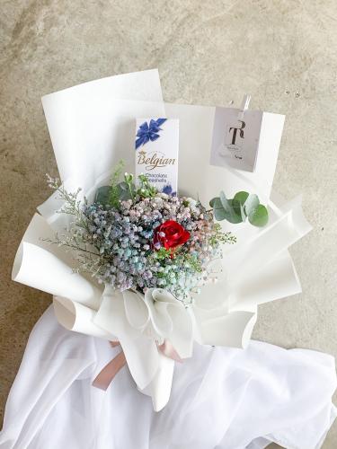 Color Baby Breath & Belgian Choc Bouquet