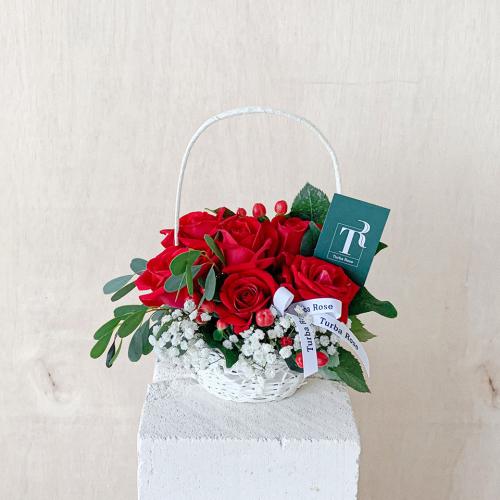 Mini Red Roses Basket