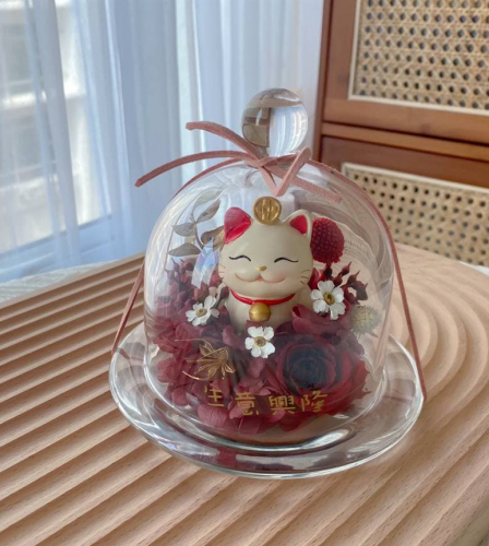 Fortune Cat Preserved Flower Bell Jar